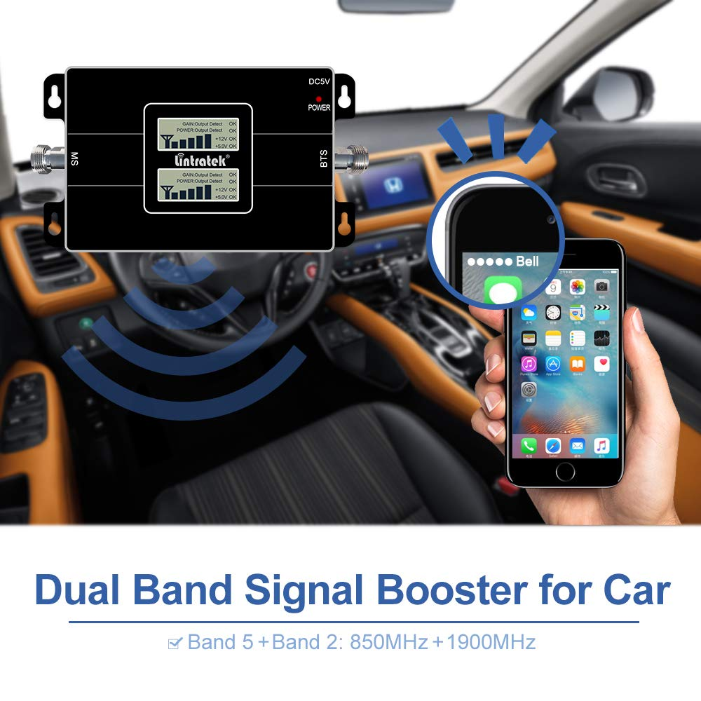 Lintratek Car Use Cell Phone Signal Booster 850MHz 1900MHz Dual Band 2G 3G 4G Mobile Phone Signal Repeater Amplifier for Vehicle RV Truck Band 2 Band 5