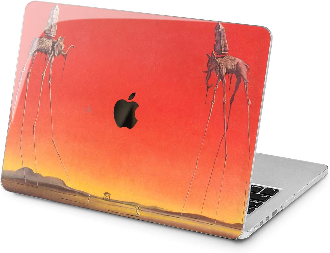 "Cavka Hard Shell Case for Apple MacBook Pro 13"" 2019 15"" 2018 Air 13"" 2020 Retina 2015 Mac 11"" Mac 12"" Protective Design Salvador Dali Cover Plastic Print The Elephants Stilts Yellow Surreal Laptop"