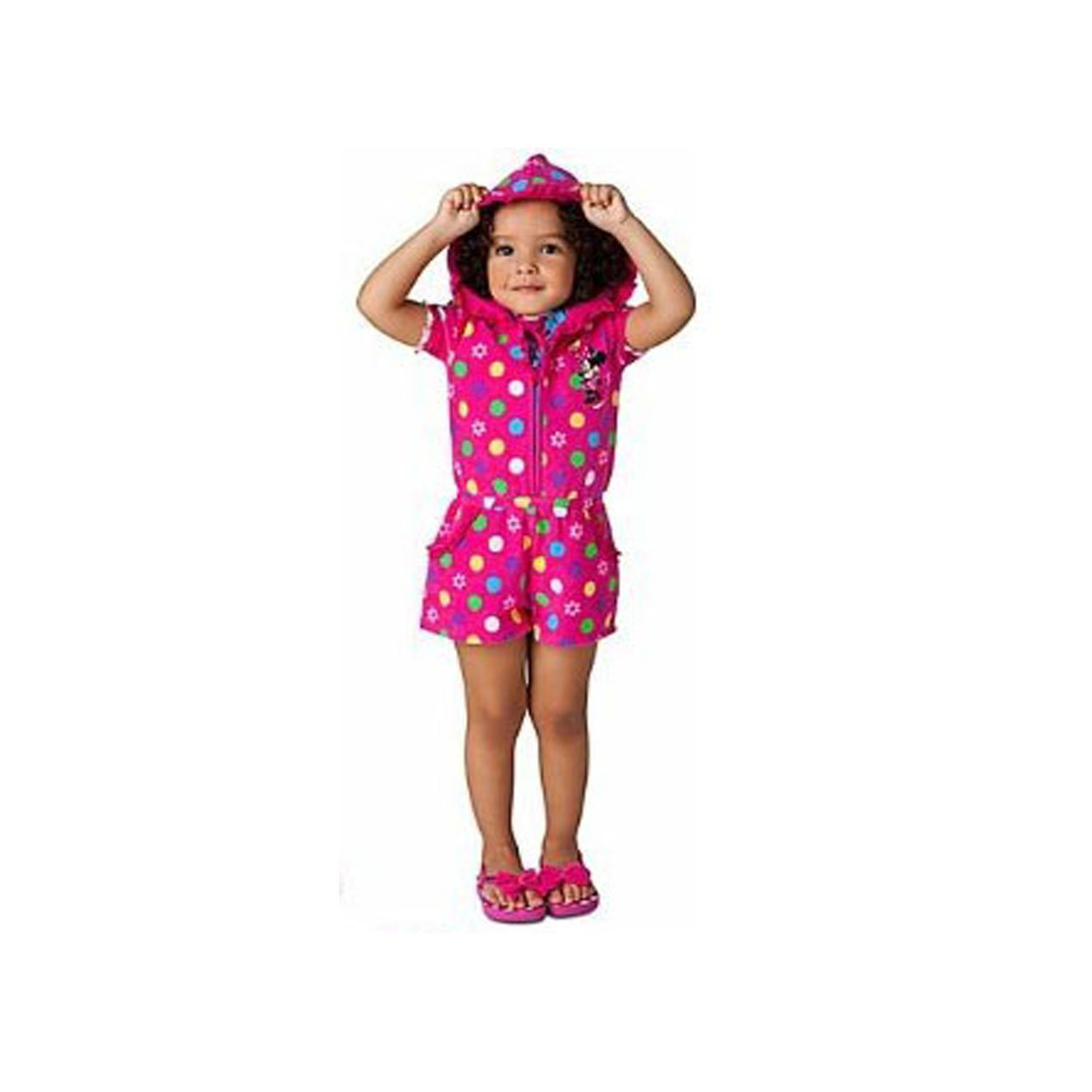 Disney Minnie Mouse Flower Hot Pink Swimsuit Swim Cover Up Romper 2T-5T 5T