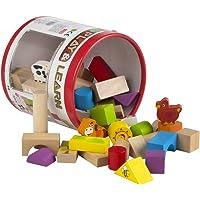 ColorBaby - Cubo 50 bloques & figuras de madera natural (42747)