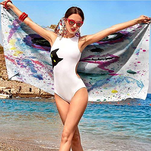 alisoso Girls,Bathroom Towels Halloween Lady Make Up W20 xL39 Long Lasting Set of Towels ()