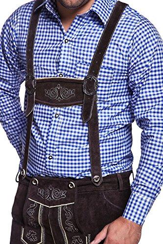 MT Styles Trachtenhemd mit Krempelarm kariert TH-30 [Blau, M]