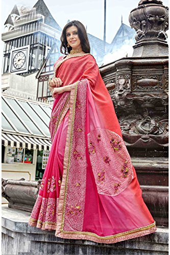 Sari Wedding Wear Indian Da Traditional Facioun Designer Party Women for Pink Sarees aw4HXwPqx