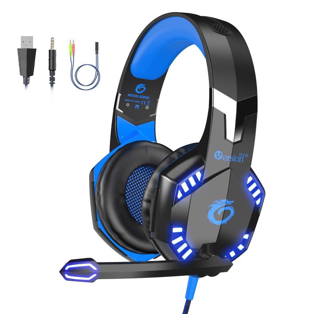 VersionTECH. G2000 [Updated] Stereo Gaming Headset for Xbox One PS4 PC,Surround Sound Over-Ear Headphones with 50mm Drive Unit,Noise Cancelling Mic, LED Lights for Laptop, Mac,Nintendo Switch Game by VersionTECH.