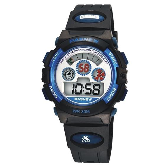 Niños Deportes al aire libre reloj LED Digital impermeable reloj deportivo exterior para niños niñas - Azul: Amazon.es: Relojes