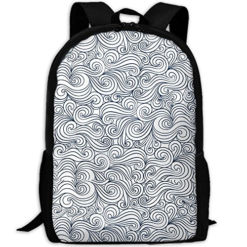 (Casual Large College School Daypack, Laptop Outdoor Backpack, Travel Hiking& Camping Rucksack Pack For Complex Vertigo Clouds Print Mode)