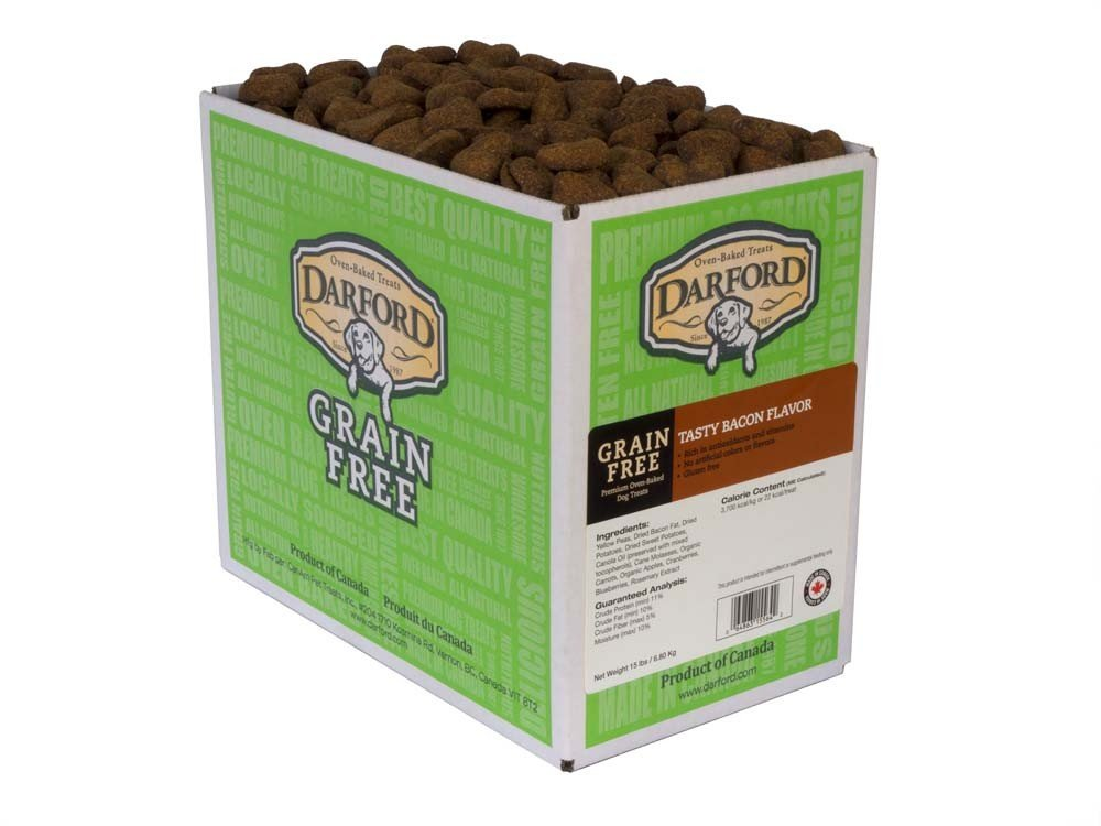 Darford Oven Baked Grain Free Tasty Bacon Flavor Dog Treats, 15 lb