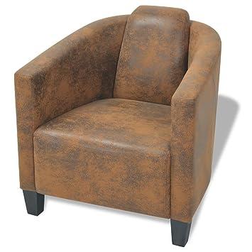 vidaxl fauteuil pour salon chambre chaise sige de bureau tissu marron - Fauteuil Pour Chambre