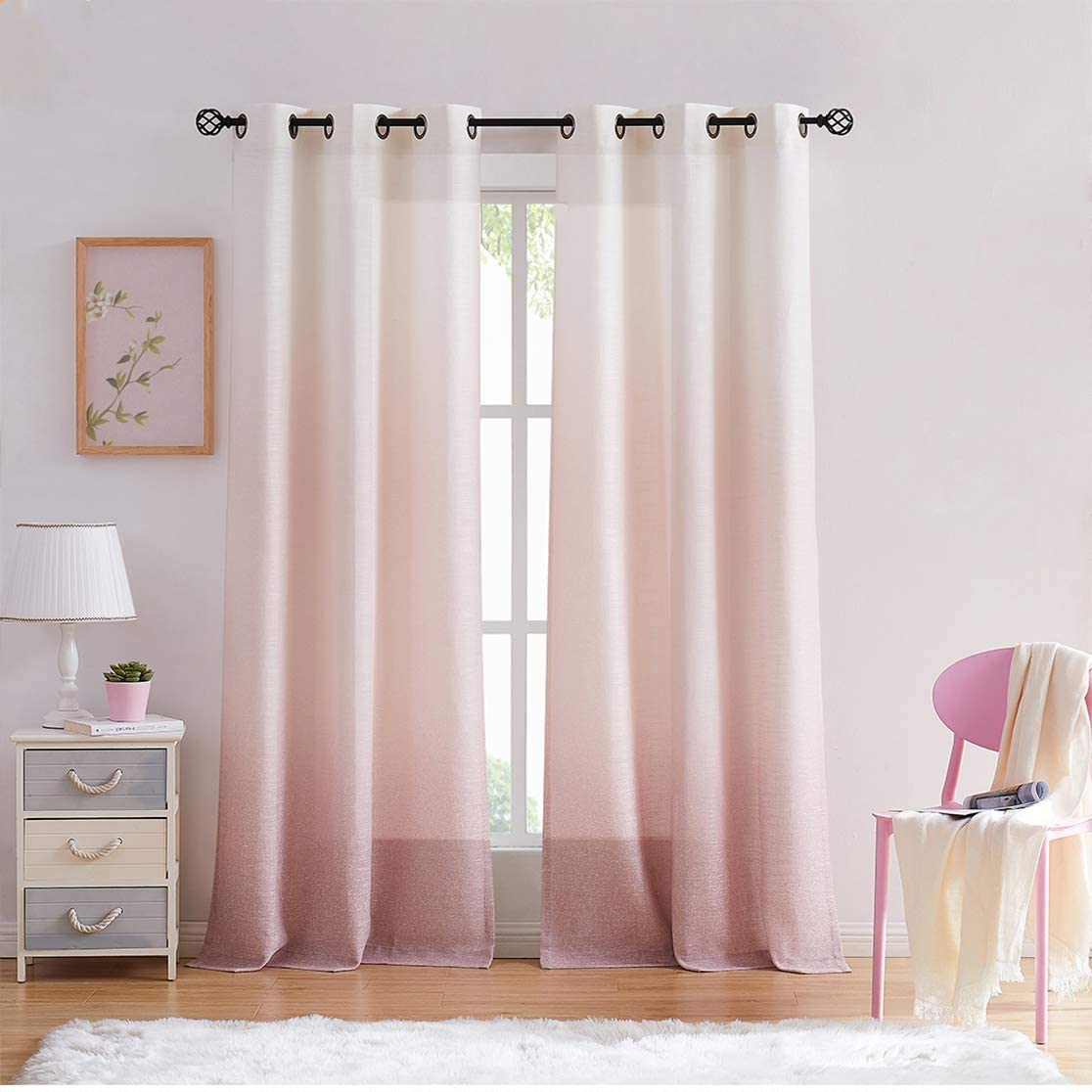 "Central Park Ombre Window Curtain Panel Linen Gradient Print on Rayon Blend Fabric Drapery Treatments for Living Room/Bedroom, Cream White to Pink Dust Rose, 40"" x 84"", Set of 2"