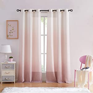 "Central Park Ombre Rayon Blend Heavy Linen Texture Window Curtain Panel 6 Grommets Top Gradient Cream White to Pink Dust Rose Window Drapes Treatment for Living Room/Bedroom, Set of 2, 40"" x 95"" Each"