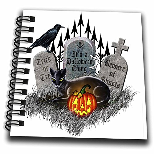 3dRose db_218862_3 Digital Art Black Cat, Graveyard, Gate and Raven on Halloween Mini Notepad, 4 by 4