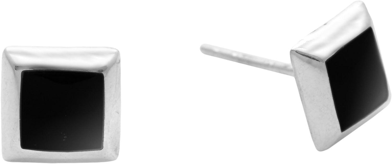 Silverly Pendientes Mujeres en Plata de Ley .925 con Piedras de Ónice Simulados Cuadrado Negro 7 mm