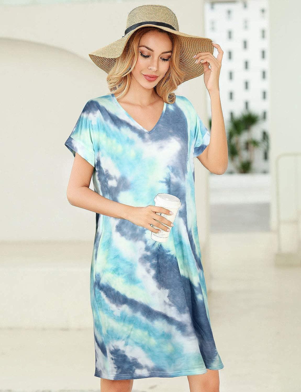 Toppshe Womens V-Neck Leopard Print Pocket Mini Dress Summer Vintage Short Sleeve Beach Dress