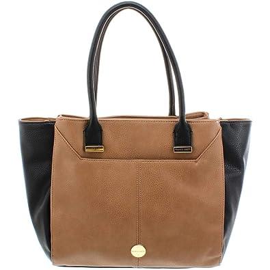 93b76c940c20 Franco Sarto Womens Garden Faux Leather Colorblock Shopper Handbag Brown  Large  Handbags  Amazon.com