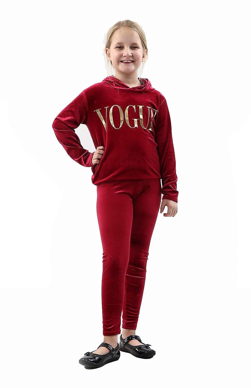 7STYLES/® Girls Velvet Vogue Tracksuit Gold Foil Hooded Top /& Legging Fashion Gift Set 7-13