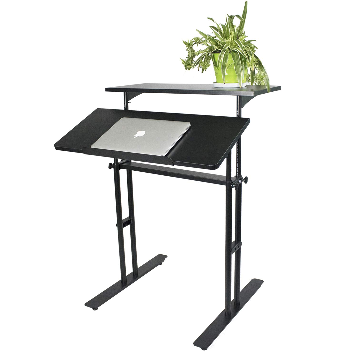 Heyesk Stand Up Desk Height Adjustable Home Office Desk with Standing (Black) by heyesk (Image #7)