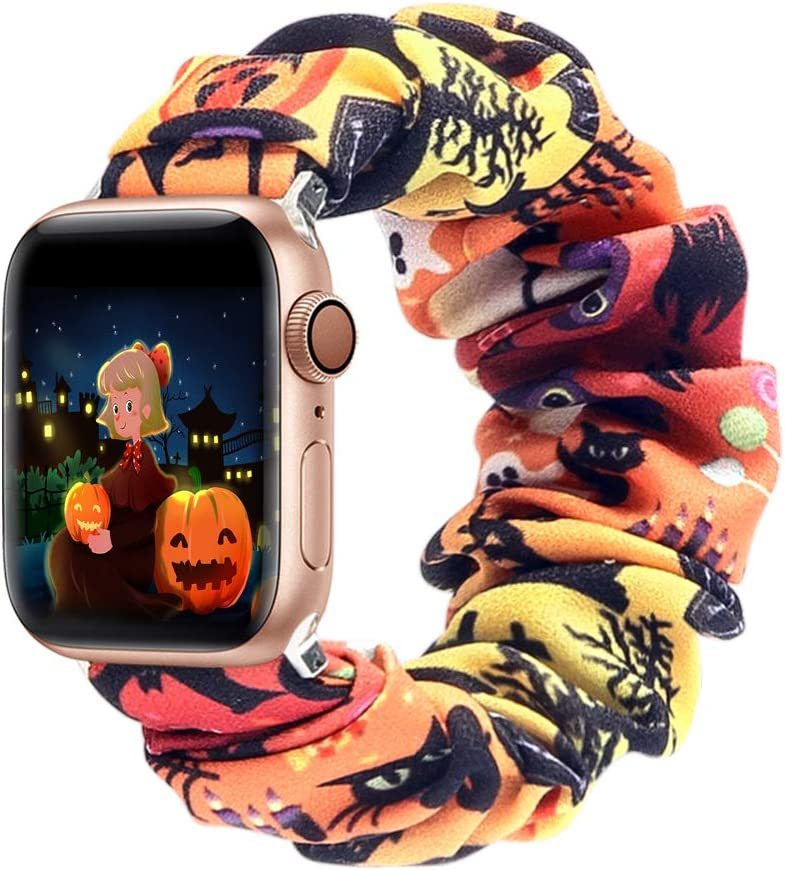 ALNBO Compatible with Apple Watch Band 38mm 40mm 42mm 44mm Soft Floral Fabric Elastic Scrunchies iWatch Bands for Apple Watch Series 6,SE,5,4,3,2,1 38mm/40mm S