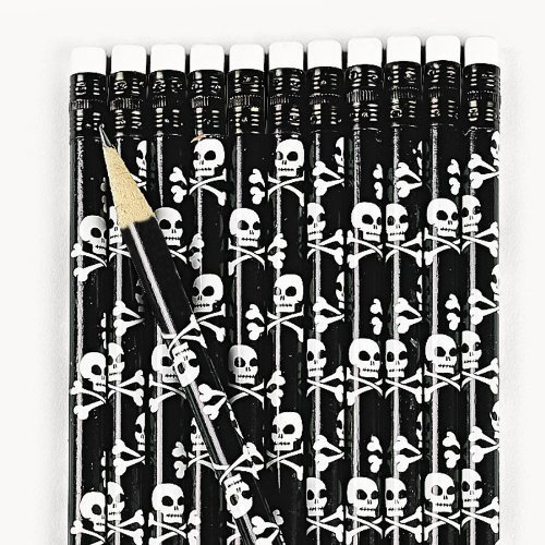 Fun Express Wooden Skull & Crossbones Pencils (2 Dozen) (Halloween Pencil)