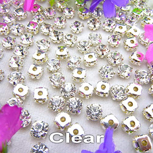 (Pukido Colorful Glass Crystal Silver Claw Setting 3mm 4mm 5mm 6mm 7mm 8mm Nice Colors Sew on Rhinestone Beads Bags Wedding Dress DIY - (Color: A1 Clear, Size: SS12 3mm 200pcs))