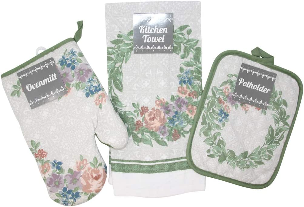 Nest 1 Ovenmitt BBHome Spring Kitchen Towel Set 3 Piece Including 1 Kitchen Towel and 1 Potholder All 100/% Cotton