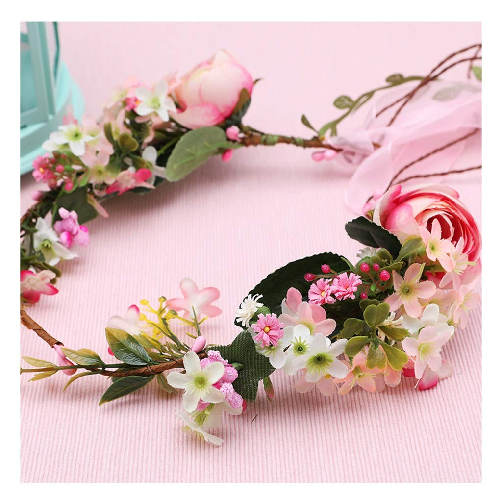 Wreath Flower Headdress Rattan Hair Band Bride Wedding Hair Accessories Korean Style Headband Accessories (Color : A)