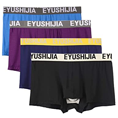 9dc4577e16e5 EYUSHIJIA Men's 4 Pack Underwear Bamboo Fiber Separate Pouches Boxer Briefs  with Fly (Small,