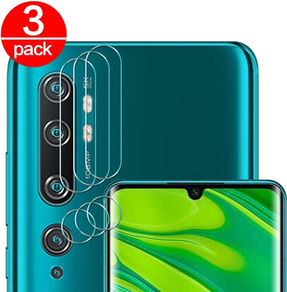 [3 Pack] Cristal Templado para Lente Cámara de Xiaomi Mi Note 10/ CC9 Pro, Ultra Fino Protector 2.5D 9H de Dureza Cámara Trasera Lente Película de Pantalla