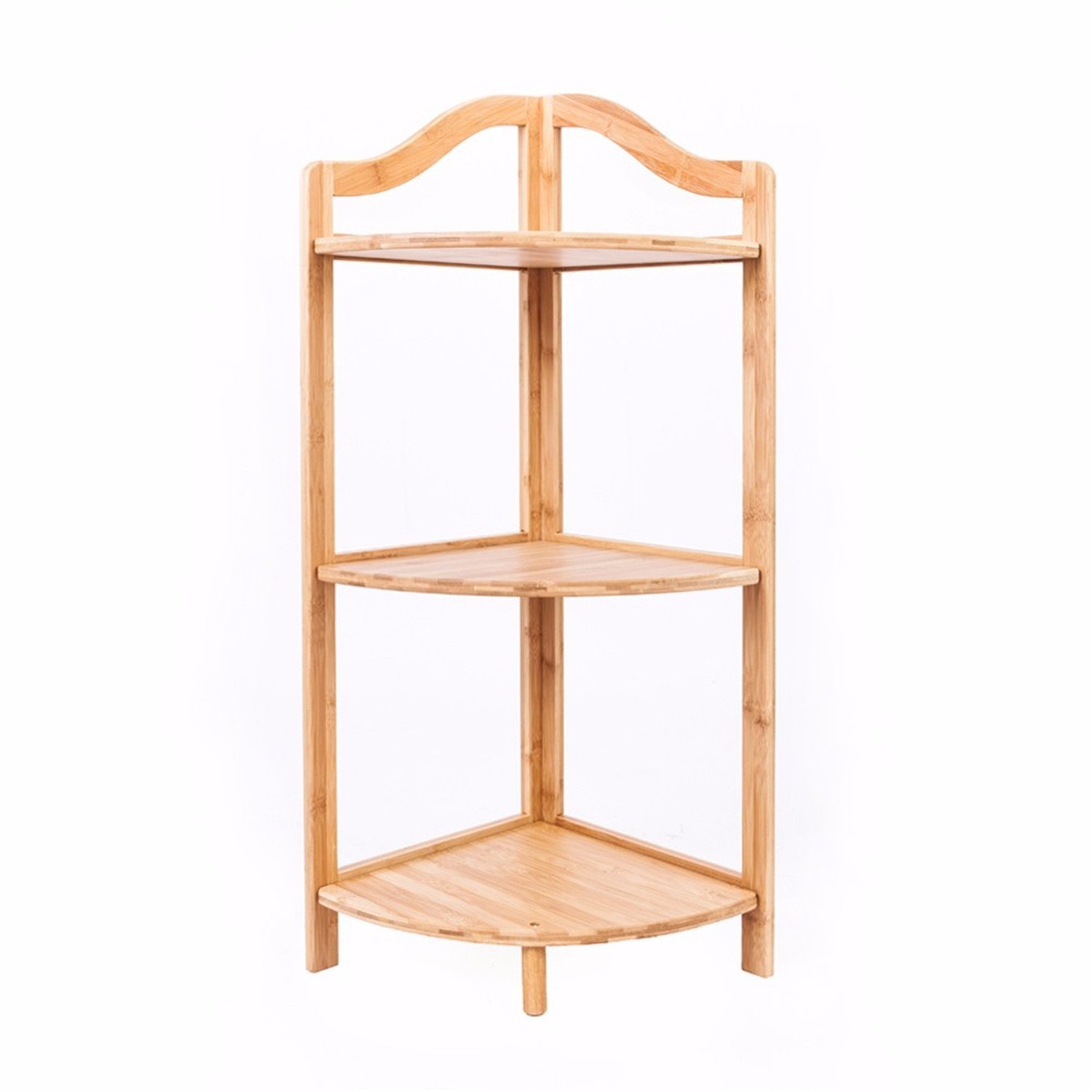 3-layer Portable Practical Sundry Storage Rack Corner Rack Wood Color