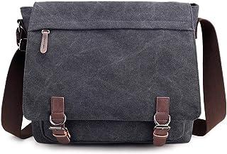 Nlyefa Umhängetaschen Laptopfach Schultertasche Canvas Messenger Bag Kuriertasche für Schule Uni Büro, EINWEG