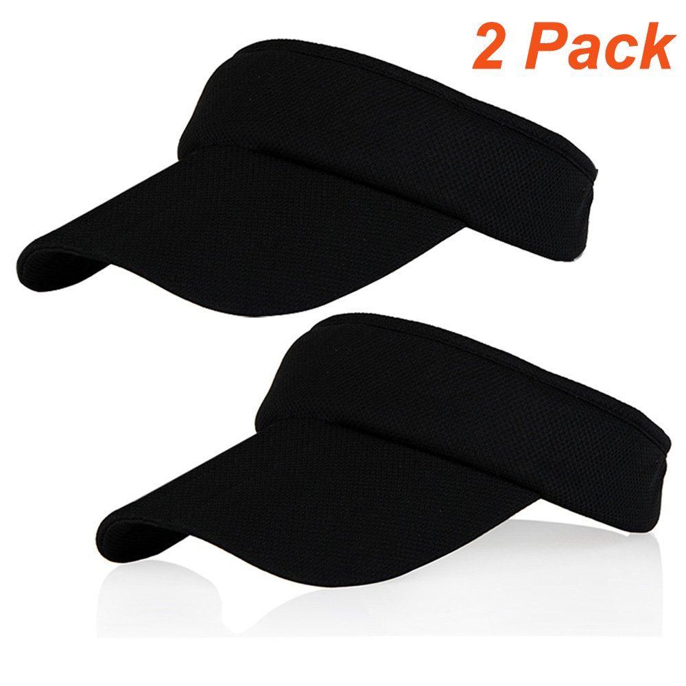 Black Sun Visors for Girls and Women, 2 Pack Long Brim Thicker Sweatband Adjustable Hat for Golf Cycling Fishing Tennis Running Jogging Sports by Veatree