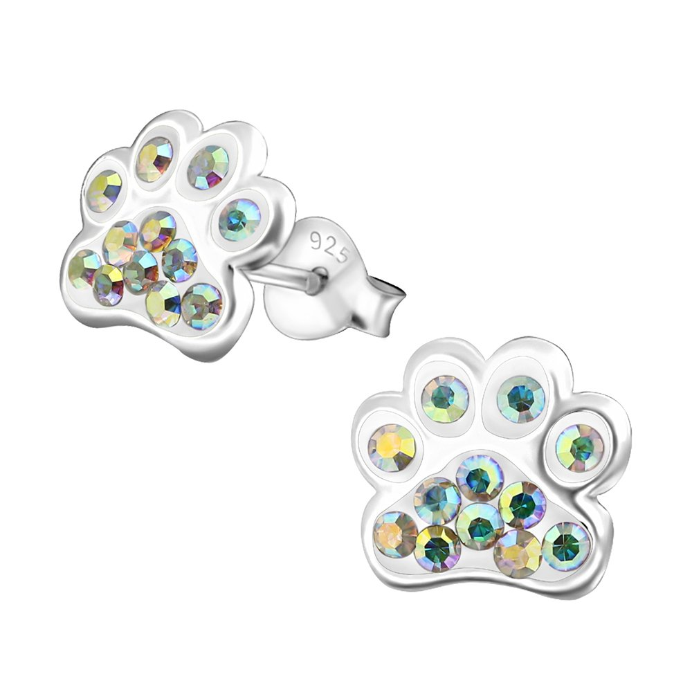 Hypoallergenic Paw Print Stud Earrings With Crystals for Girls (Nickel Free and Safe for Sensitive Ears) - AB-Crystal
