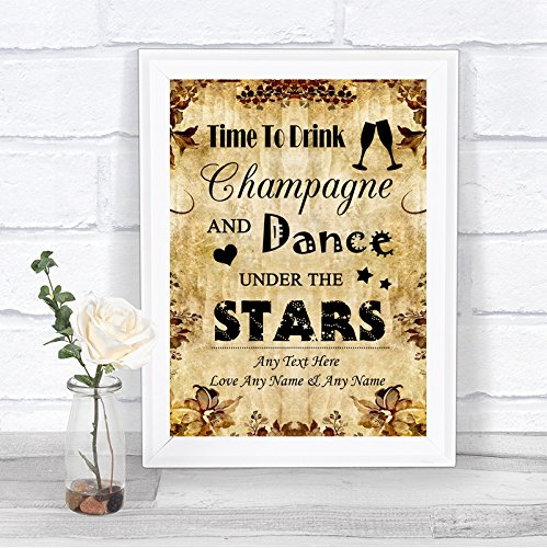 The Card Zoo Autumn Vintage Drink Champagne Dance Stars Personalized Wedding ()