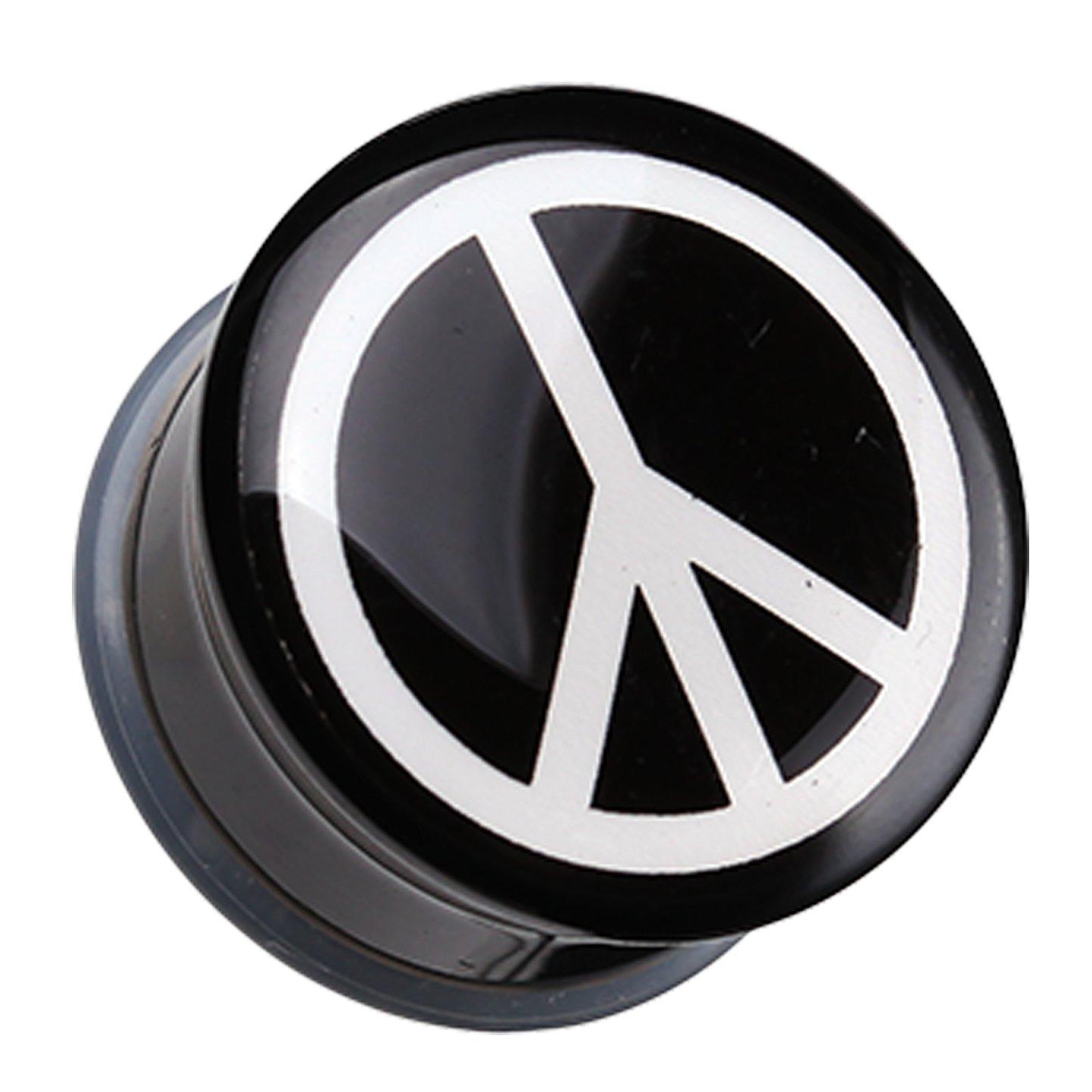 Peace Logo Single Flared Ear Gauge Plug Sold as a Pair