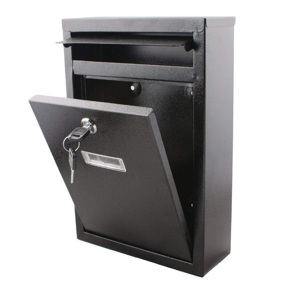 Black Large Letter Box Post Mail Box Wall Mounted Post Box Lockable with Keys