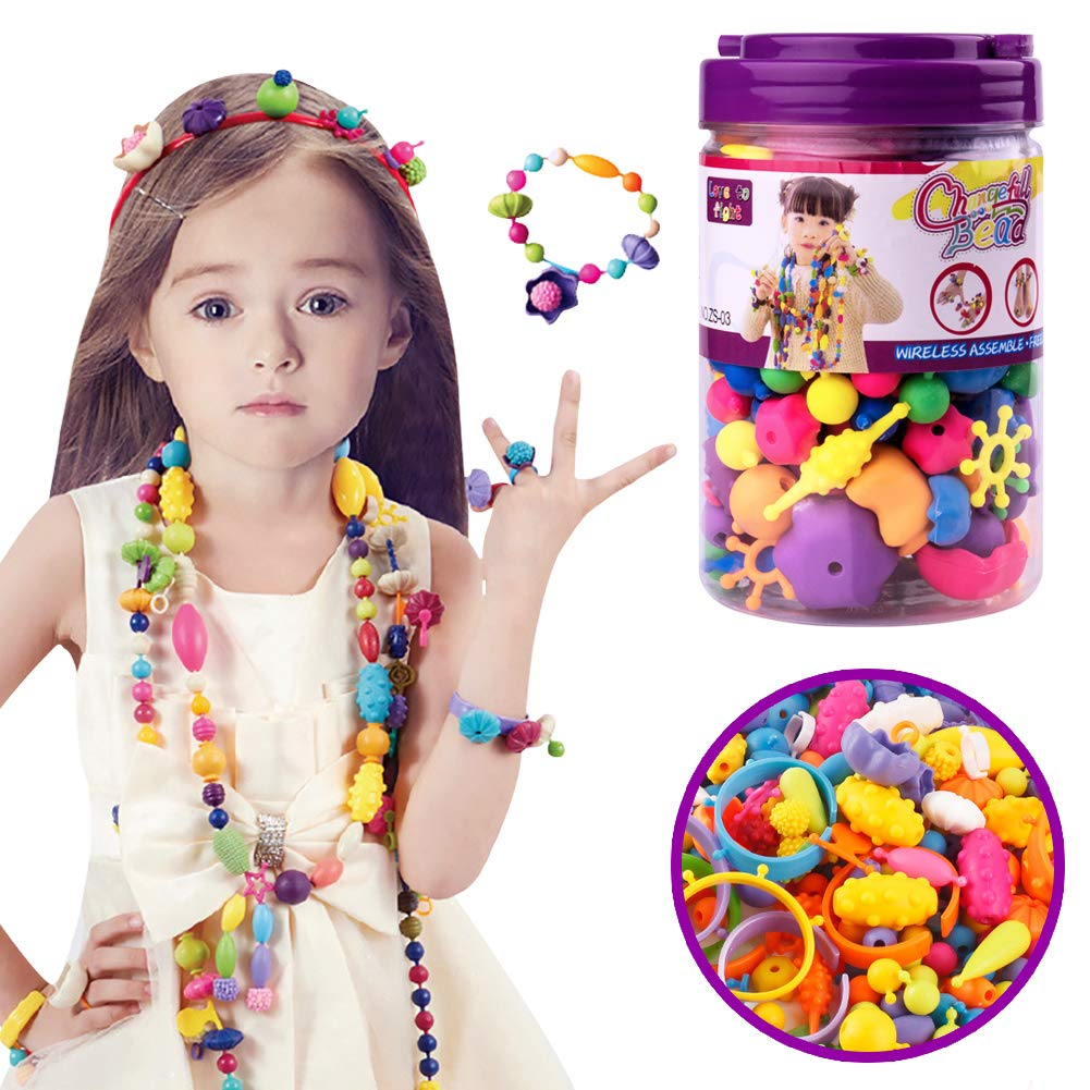 URlighting Pop Snap Beads Set For Girls Toddlers Kids 260 PCS Creative DIY Jewelry Kit Art Crafts Toys Making Necklace Bracelet Hairband and Ring Ideal Gift for Christmas Birthday