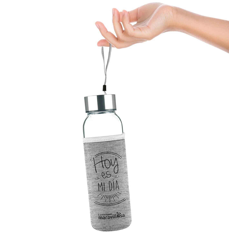 Botella de 500 ml Hoy es mi d/ía LA MENTE ES MARAVILLOSA Regalo Original Botella de Cristal con Funda y Frase motivadora