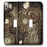 3dRose (lsp_262388_2) Double Toggle Switch (2) Steampunk Design, Clocks and Gears