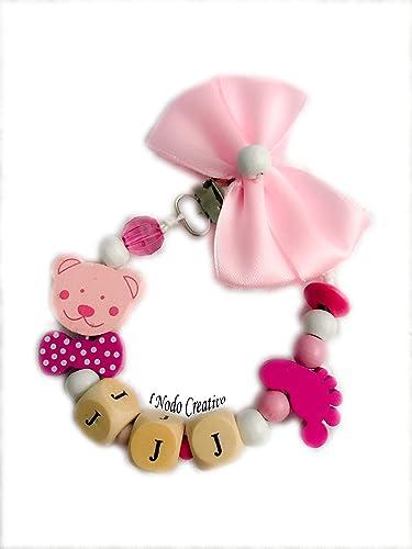 Cadena puerta chupete rosa | nombre adaptable | chupetero ...