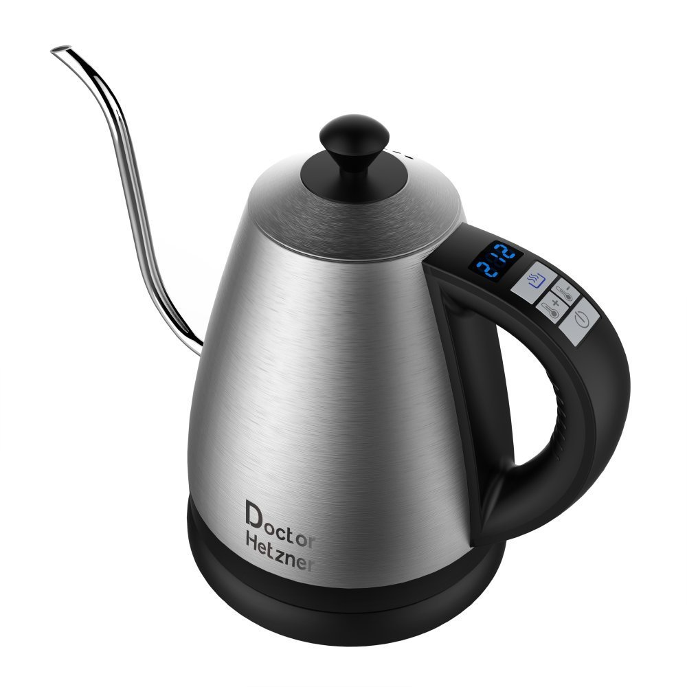 Electric Gooseneck Kettle with Preset Variable Heat Settings for Drip Coffee and Tea, Quick Boil, Stainless Steel with LCD Display, Auto Shut-off, Keep Warm Function