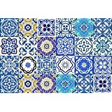 Tile Stickers 24 PC Set Authentic Traditional Talavera Tiles Stickersl Bathroom & Kitchen Tile Decals Easy to Apply Just Peel & Stick Home Decor 15x15 CM (SB14)