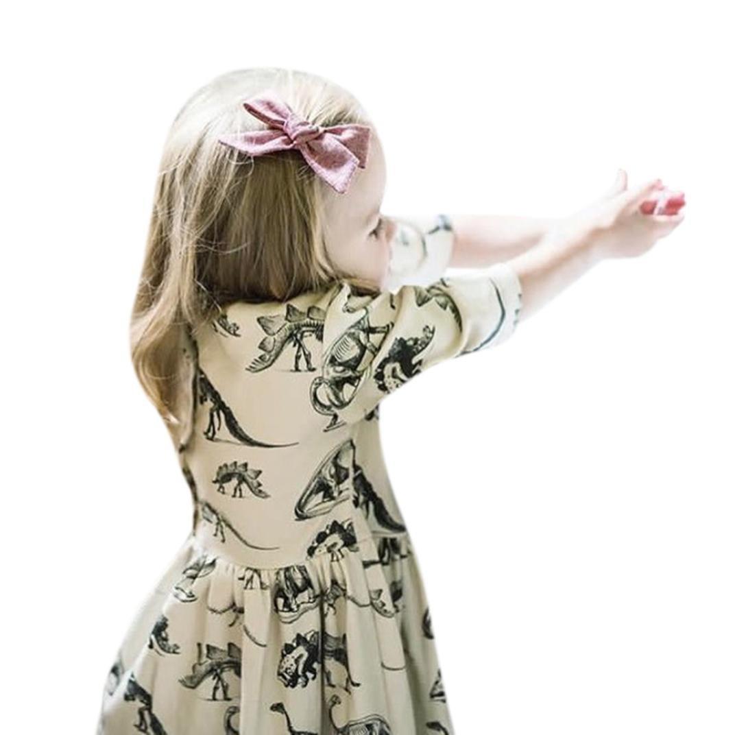 Niña Vestido, beikoard bebé niñas vestidos para 0–18meses para bebé bebé niñas cartoon dinosaur Print sol vestidos ropa trajes beige 70