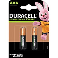 Duracell Rechargeable AAA 750mAh Batteries, Pack of 2