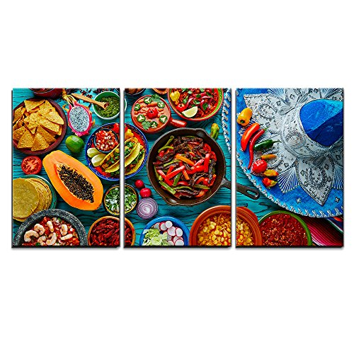 """Wall26 - 3 Piece Canvas Wall Art - Mexican Food Mix Colorful Background Mexico and Sombrero - Modern Home Decor Stretched and Framed Ready to Hang - 16\""""x24\""""x3 Panels"""