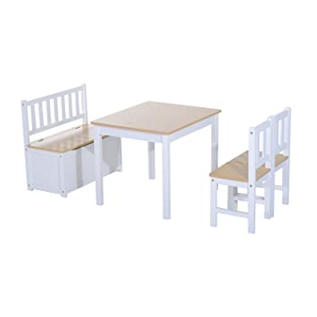 Peachy Homcom 4Pc Wooden Children Table 2 Chairs Toy Storage Bench Beatyapartments Chair Design Images Beatyapartmentscom