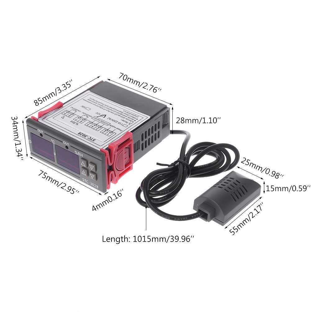 CA 110 V 220 V DC 12 V 24 V 10 A doble pantalla Regulador digital de temperatura y humedad del aire termostato y regulador de humedad de aire