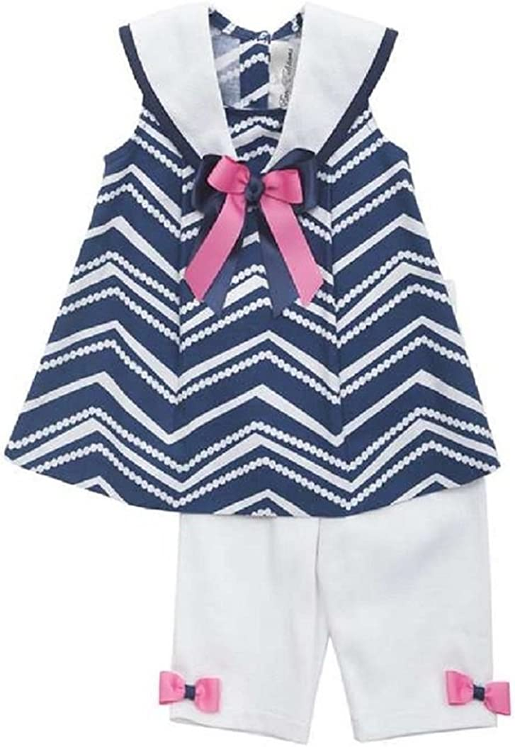 Rare Editions Girls Navy Nautical Capri Set