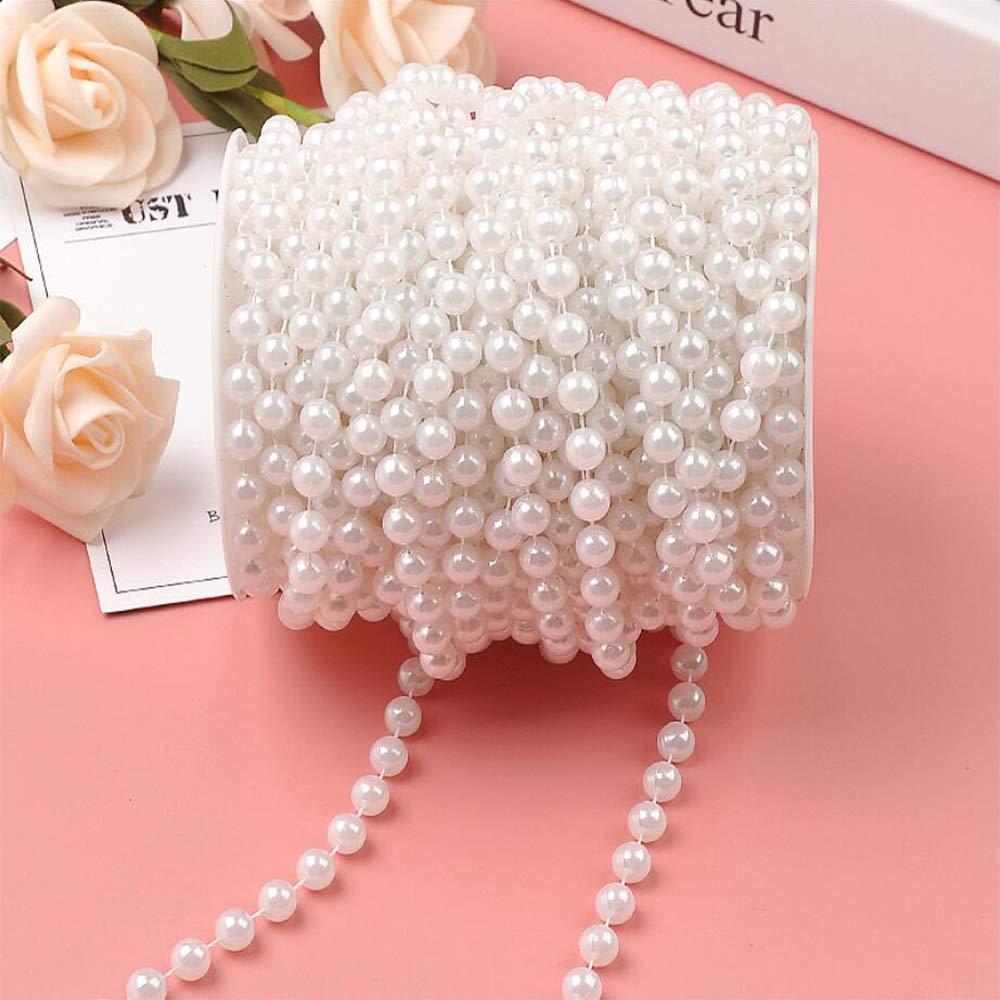 Xinlie Cadena de perlas Perlas Cadena pl/ástico Cadena DIY Beads Accesorios de joyer/ía Abalorios Di/ámetro 6mm 25 m//Rollo Collar de perlas Garland con cuentas para la decoraci/ón de la boda Blanco