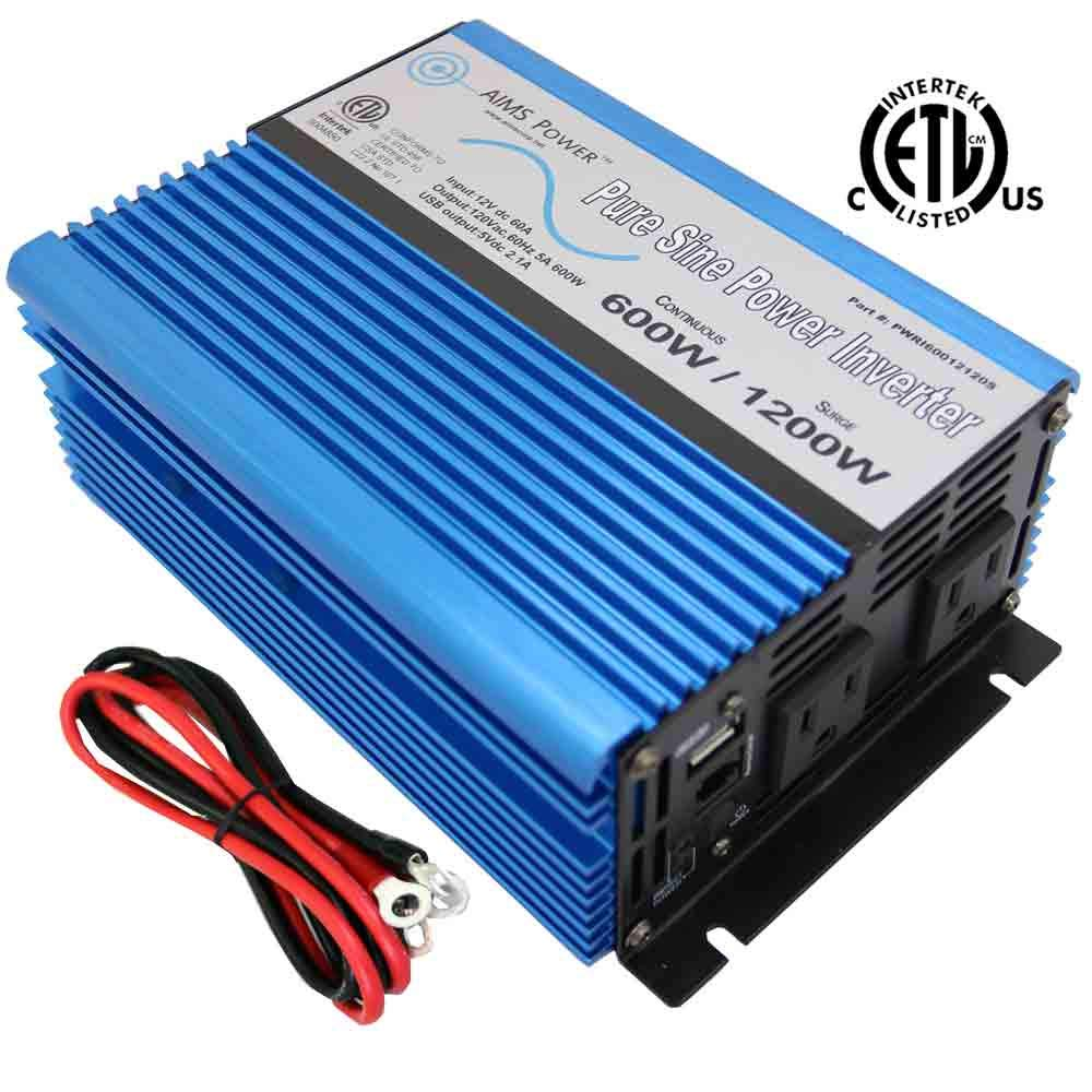 AIMS Power PWRI60012120s UL 600 WATT Pure SINE Inverter 12 VDC to 120 VAC ETL Listed USB, Cables and Remote Port
