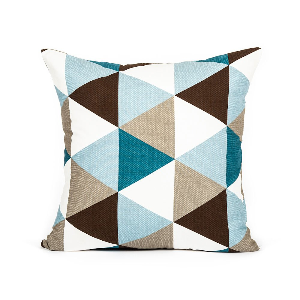 "18"" X 18"" Modern Sky Blue, Teal Brown Triangle Pattern Accent Throw Pillow Cover"