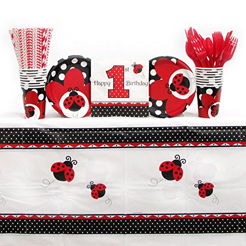 Ladybug Fancy Birthday Party Supplies Pack for 16 Guests | Straws, 16 Plates, 16 Napkins, Cups, Cutlery, and Table Cover | Adorable Ladybug Paper Plates and Napkins Set | A Cute Bug Themed Party -
